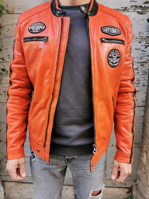 BLOUSON CUIR GALIANO ORANGE DAYTONA