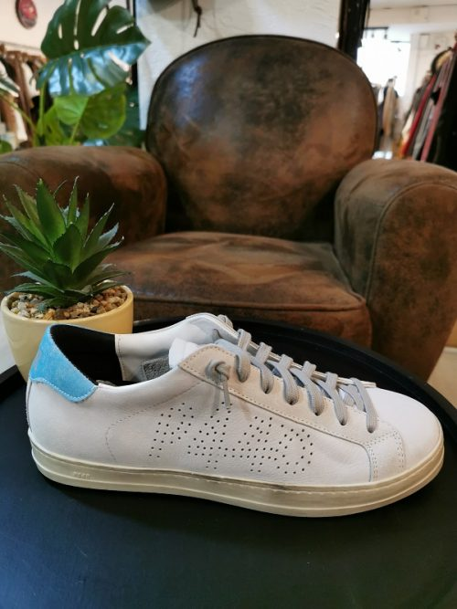 Baskets john P448 homme nap blanches talon turquoise