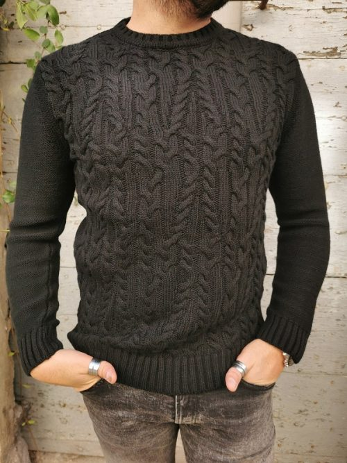 PULL ARUS MAILLE COL ROND NOIR IMPERIAL