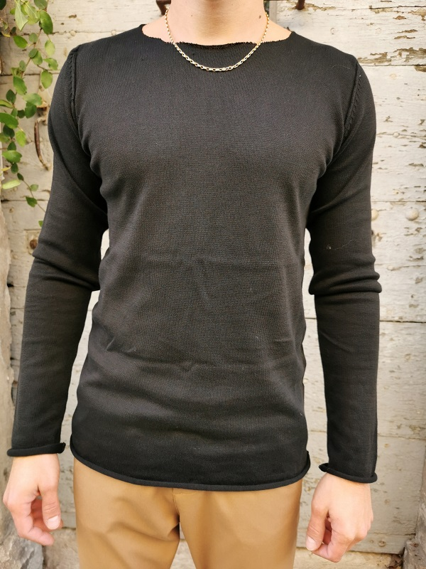PULL COL ROND NOIR-IMPERIAL