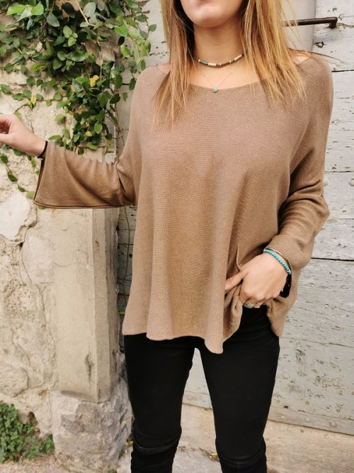 PULL OVERSIZE POCHE BEIGE PLEASE