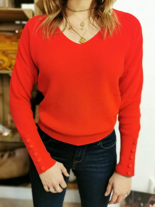 Pull MIEN MORGAN femme rouge boutons aux manches