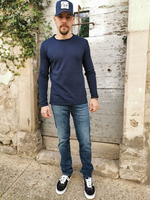 Pull col rond M553B801 IMPERIAL homme Navy (6)